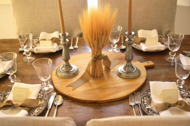 centros mesa originales ideas trigo candelabros plata otoño