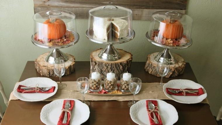 centros mesa originales ideas troncos madera otoño