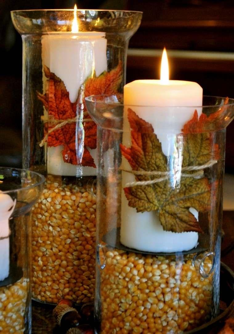 centros mesa vela maiz hojas