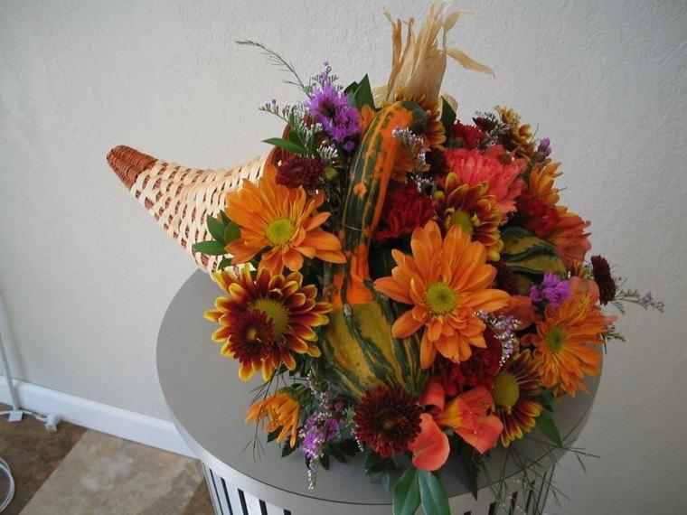 cesta flores centro mesa otoño