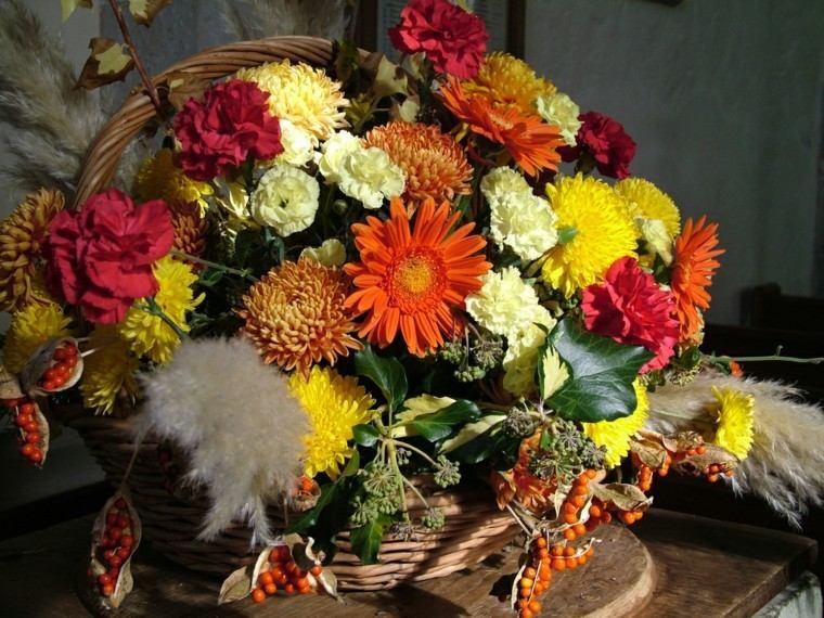 cesta flores otoño centro mesa