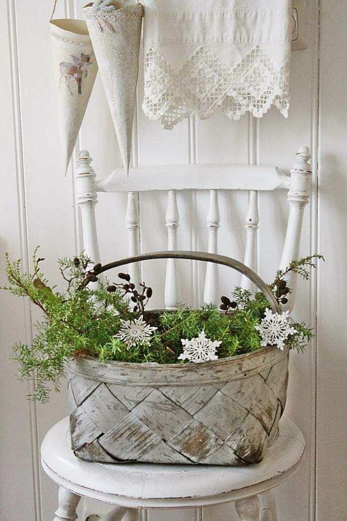 cesta plantas deco copos navidad