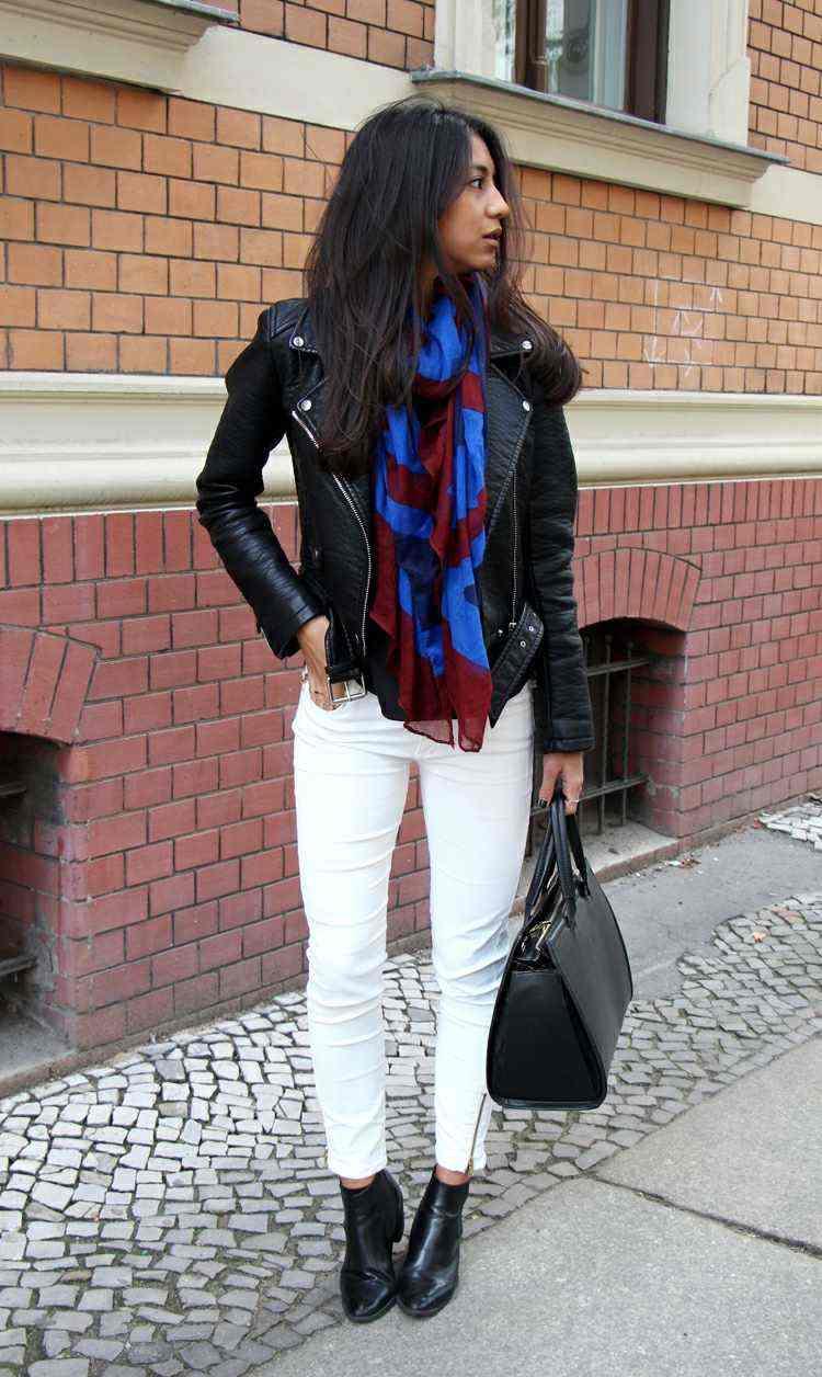 chaqueta cuero negro bufanda otono caliente azul rojo ideas
