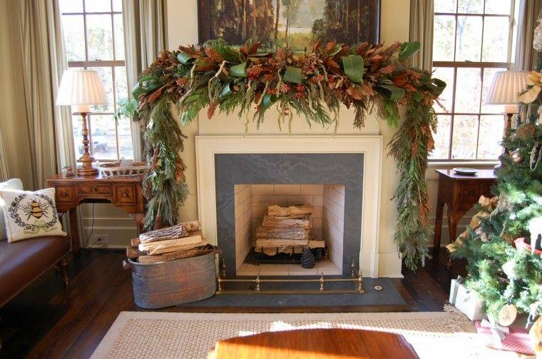 chimenea adornada guirnalda hojas naturales