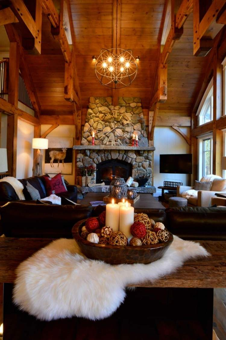 chimenea piedras techo madera adornos