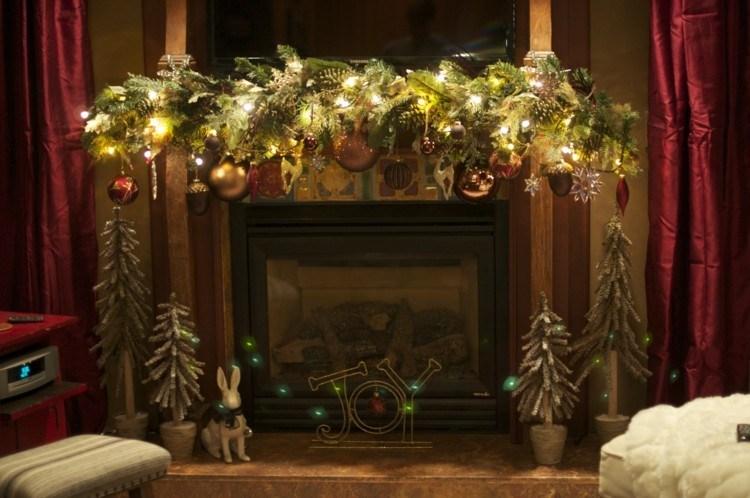 chimenea adornos motivos navidad guirnaldas