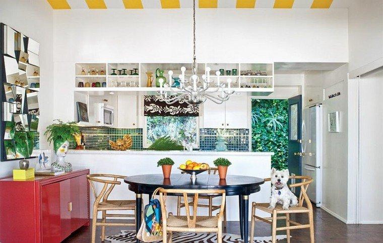 cocina abierta comedor pared mosaico verde ideas