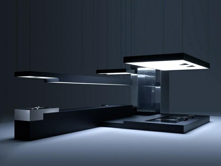 cocina futurista modulo color negro