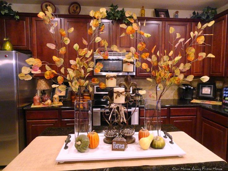 cocina decorada hojas secas