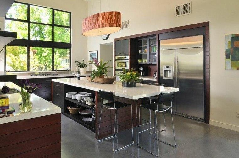 cocinas con isla estanteria y plantas