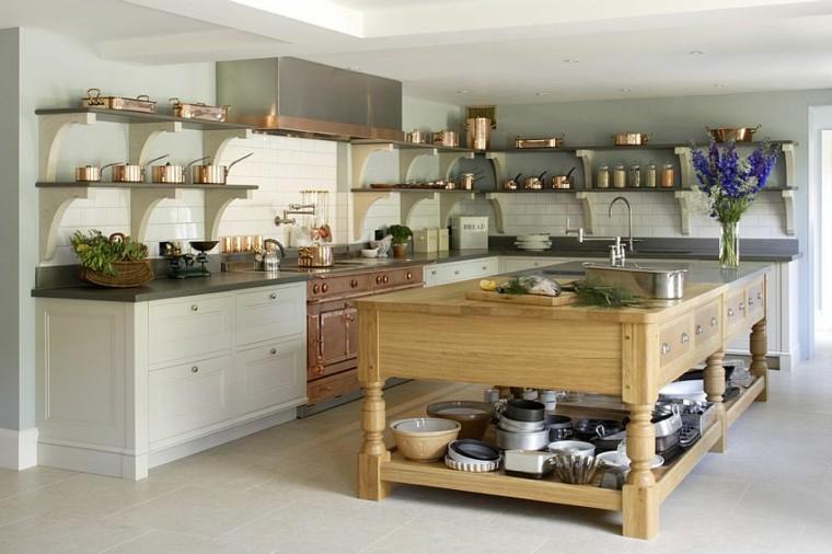 Cocinas con isla estanteria abierta estilo fresco y for Isla cocina madera