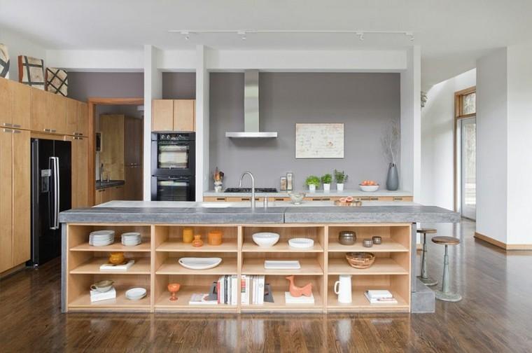 cocinas con isla estanteria madera luminosa naranja