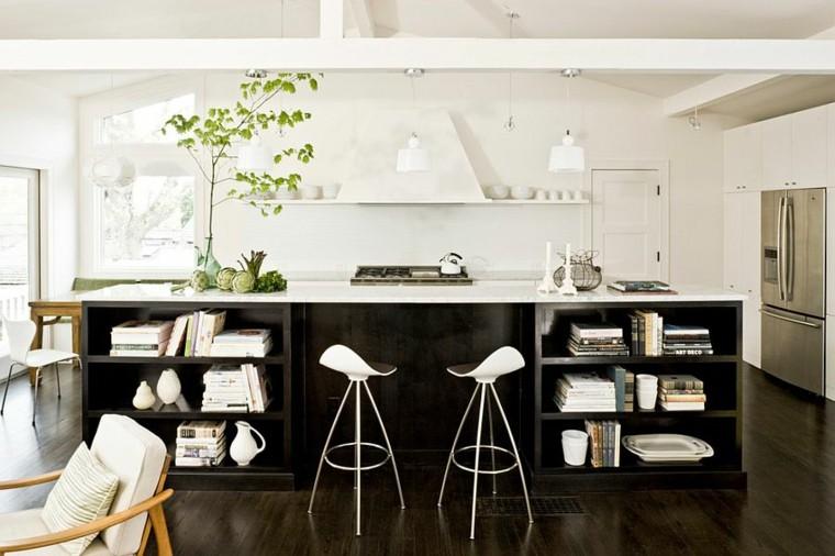 cocinas con isla estanteria madera oscura natural