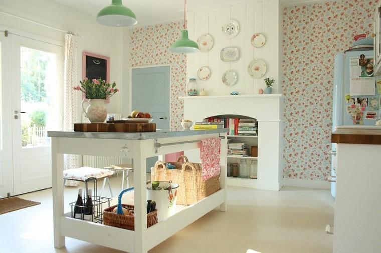 cocinas con isla estanteria madera papel paredes verde