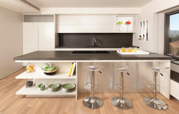 cocinas con isla estanteria madera suelo diseños