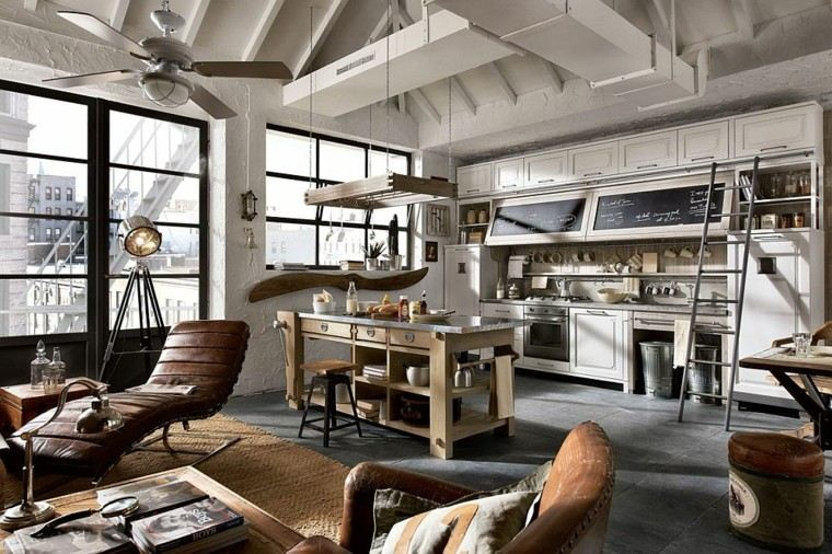 cocinas con isla estanteria madera vintage blanco