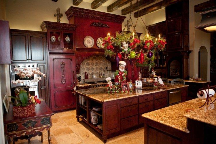 cocinas navidad elegante isla madera