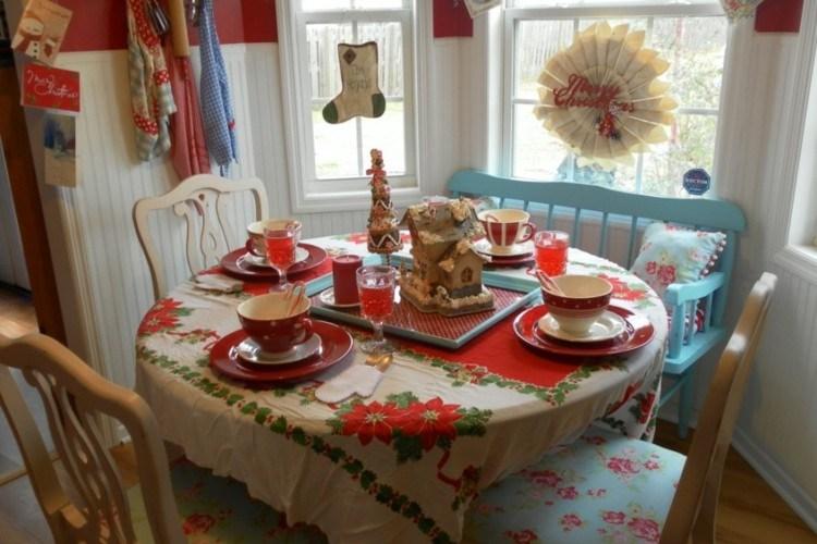 cocinas navidad elegante madera mesas coronas