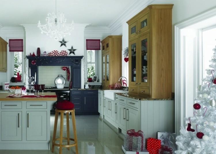 cocinas navidad elegante mesa estante taburete