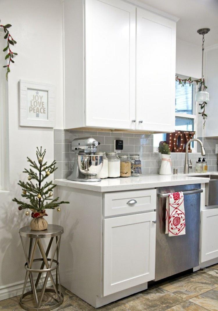 cocinas navidad elegante mesa horno blanco
