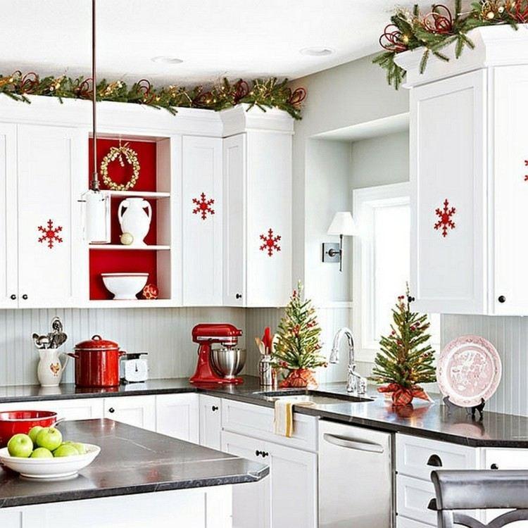 cocinas navidad elegante mesa plantas rojo