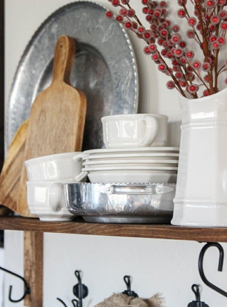 cocinas navidad elegante mesa rojo platos