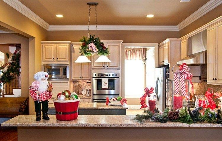 cocinas navidad elegante mesa santa diseños
