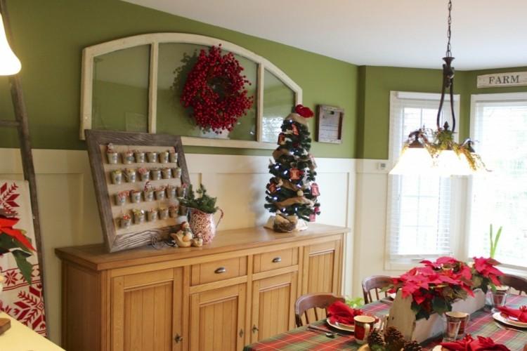 cocinas navidad elegante verde corona
