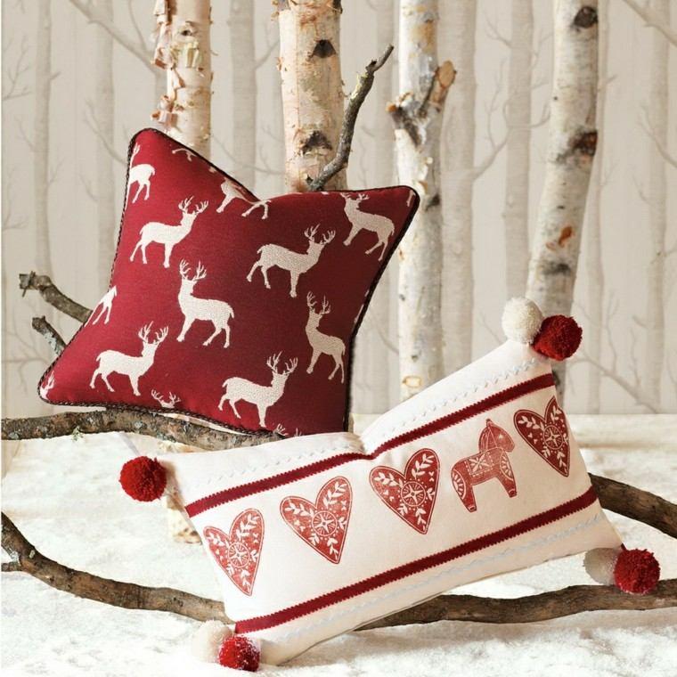 cojines rojos diseño estilo nordico