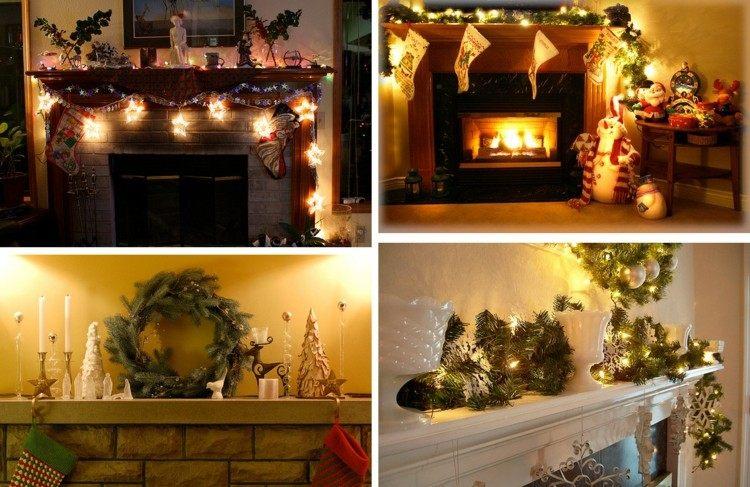 Motivos navideños para decorar la chimenea   50 ideas