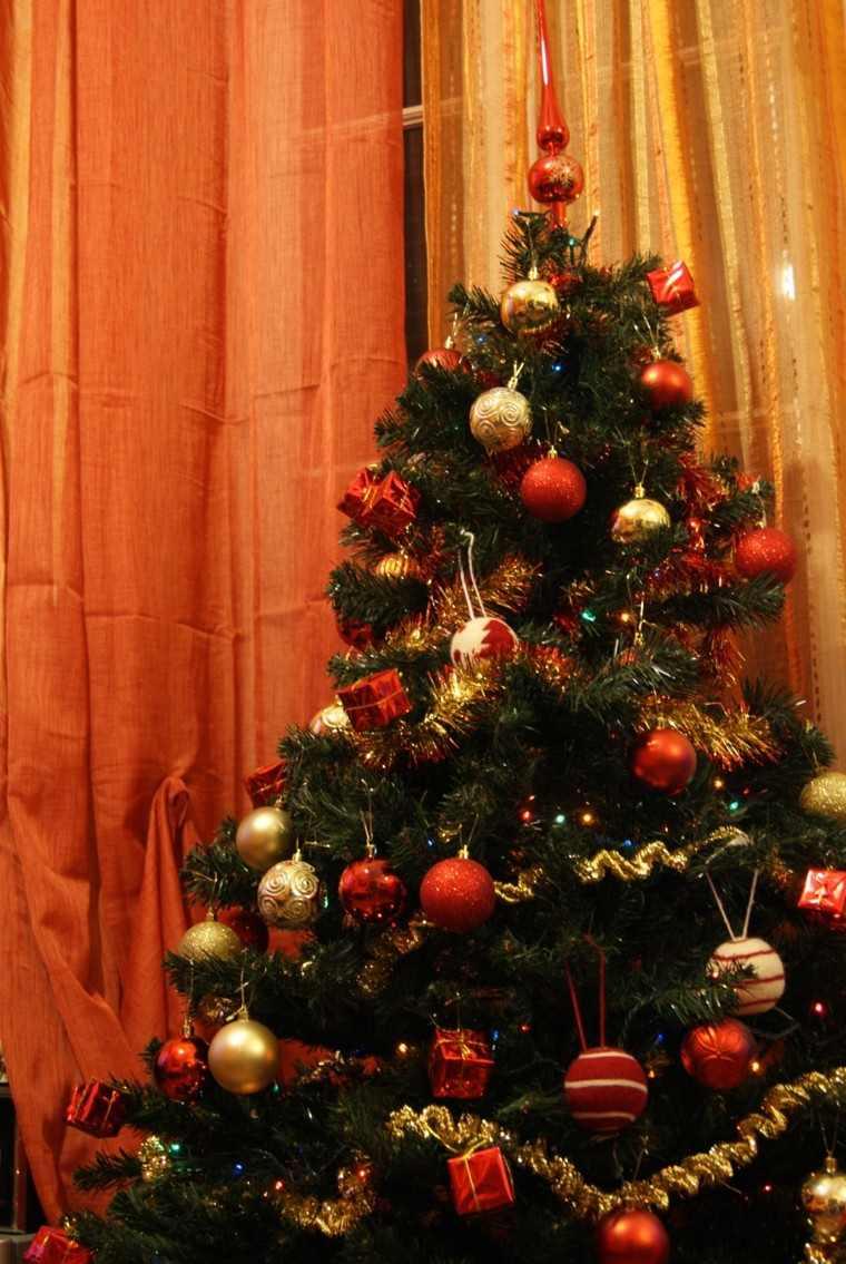color rojo oro adornos navidad arbol bonito ideas