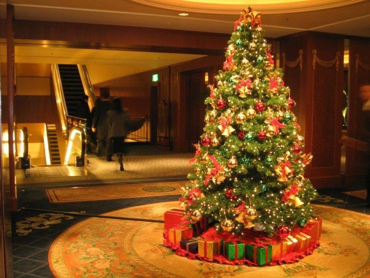 color rojo oro adornos navidad arbol brillante ideas