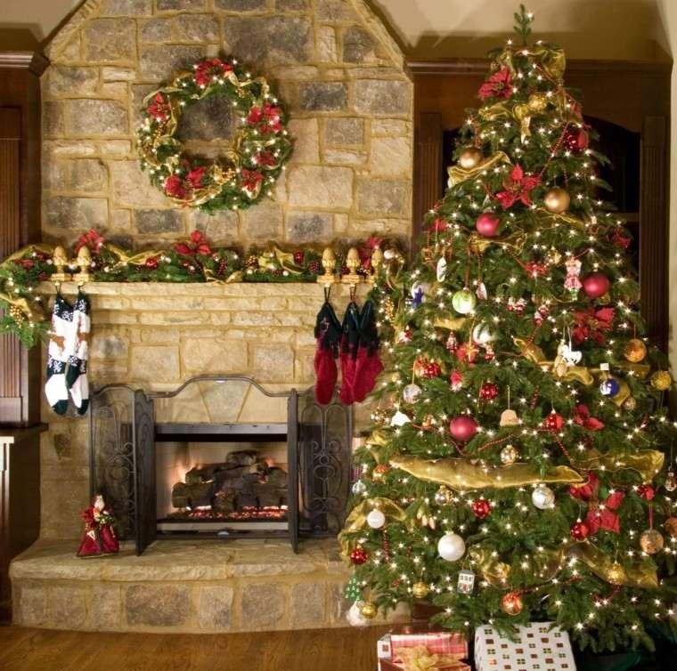 color rojo oro adornos navidad arbol chimenea ideas