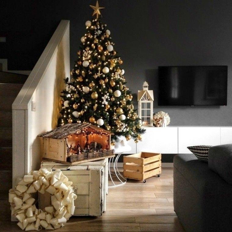 color rojo oro adornos navidad arbol guirnalda ideas