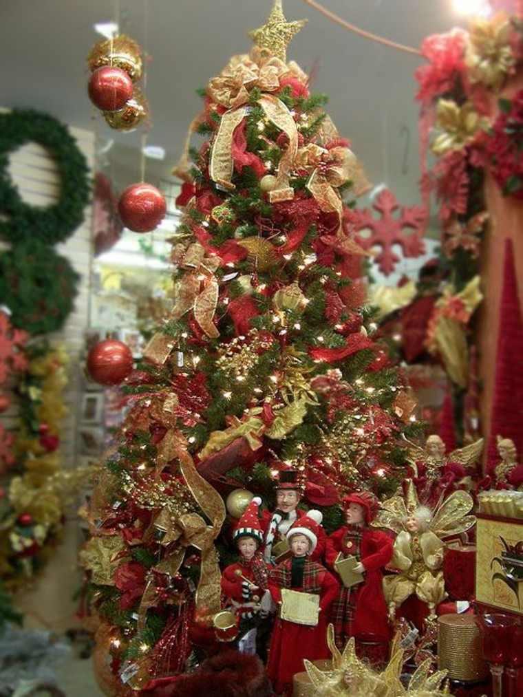 color rojo oro adornos navidad arbol muchas decoraciones ideas