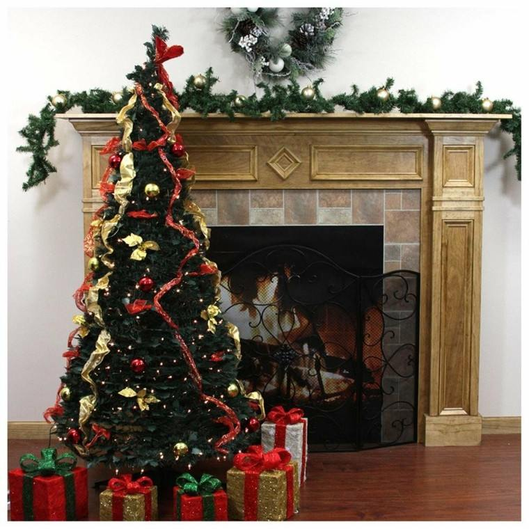 color rojo oro adornos navidad arbol regalos chimenea ideas