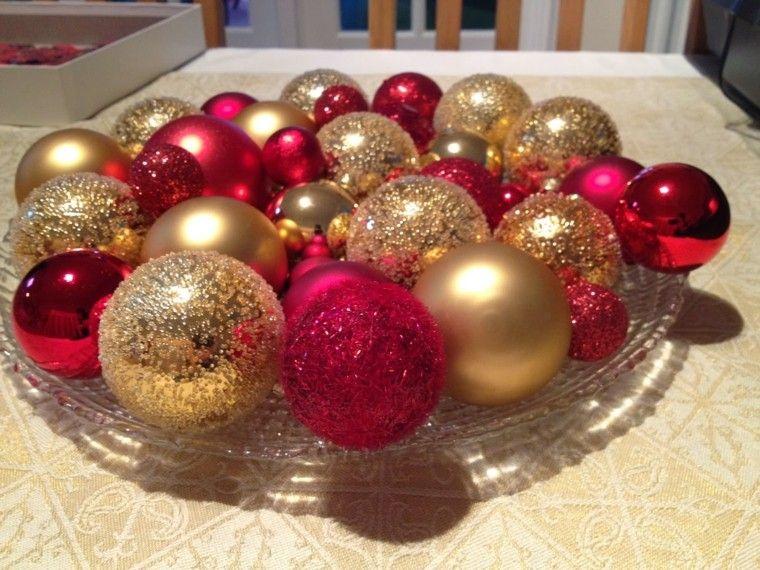 color rojo oro adornos navidad centro mesa bolas ideas