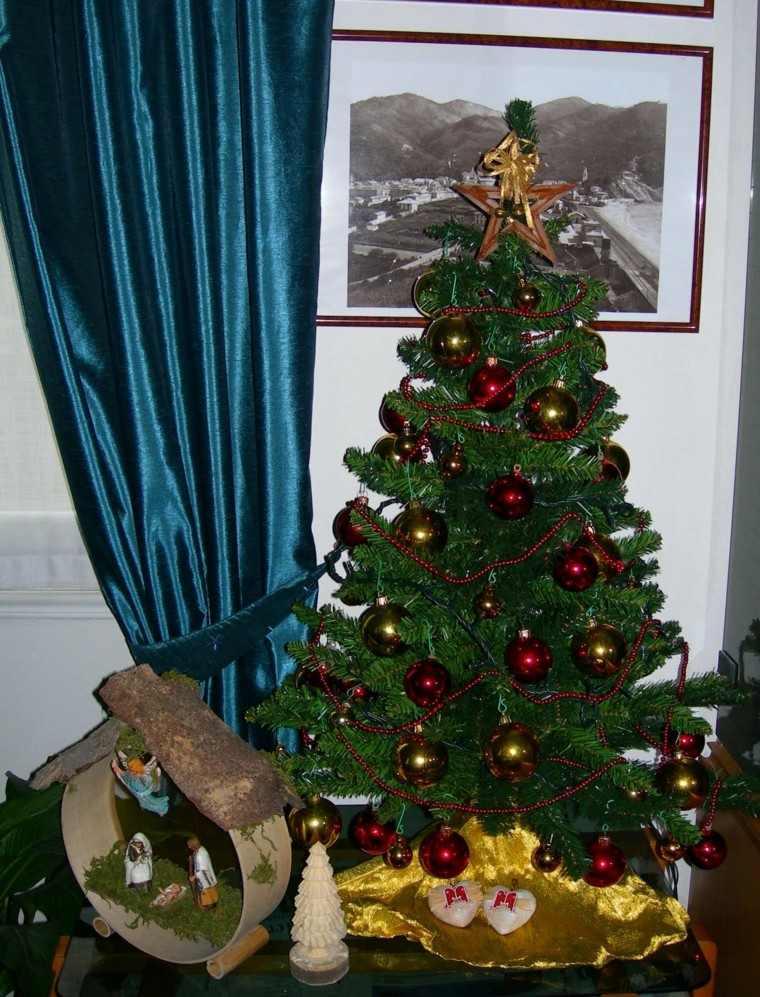 color rojo oro adornos navidad estrella navidad arbol ideas