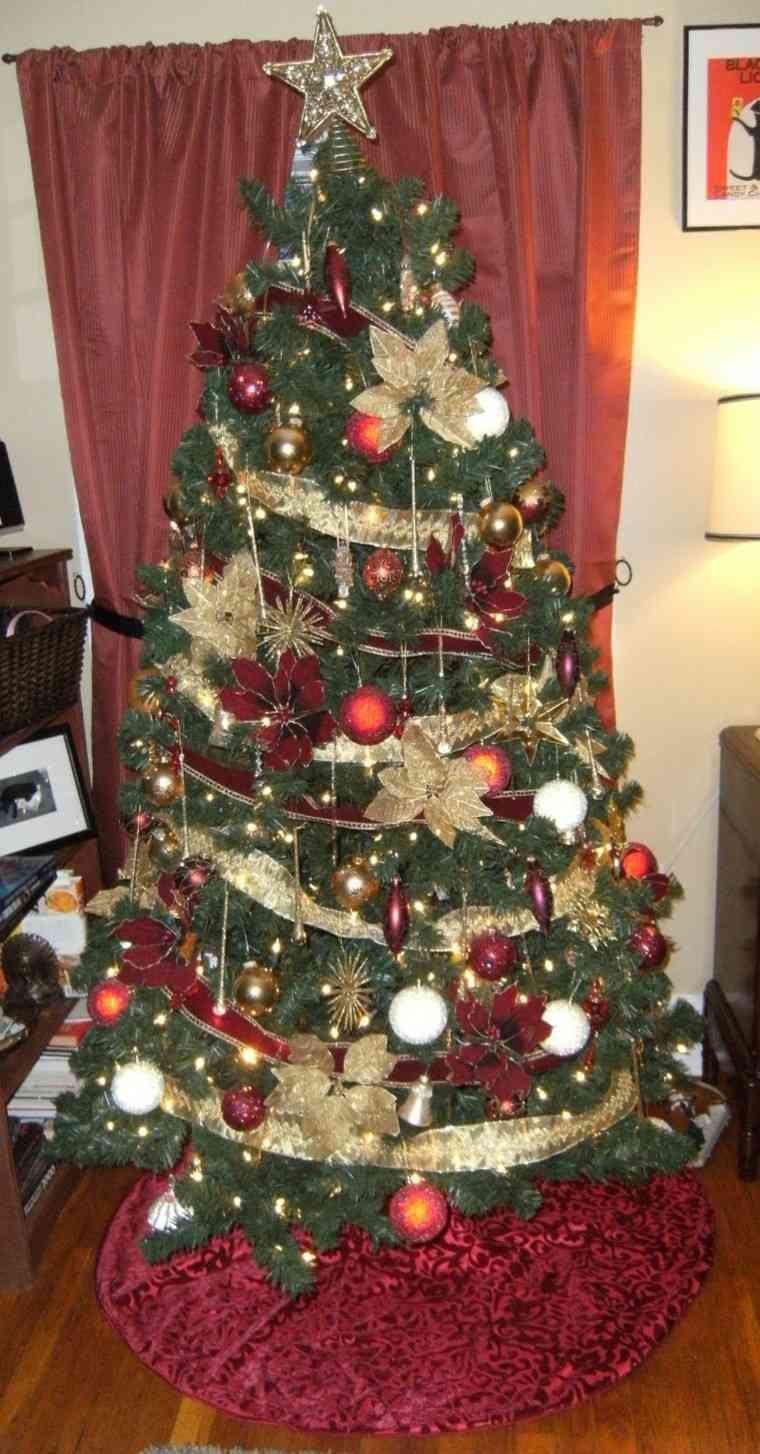color rojo oro adornos navidad guirnalda preciosa arbol ideas
