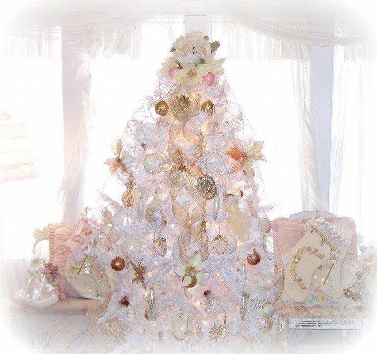 Colores pastel 23 ideas para la decoraci n navide a - Arbol de navidad blanco decorado ...
