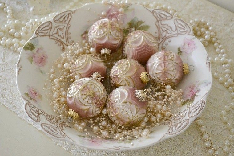 colores pastel navidad bolas plato perlas ideas