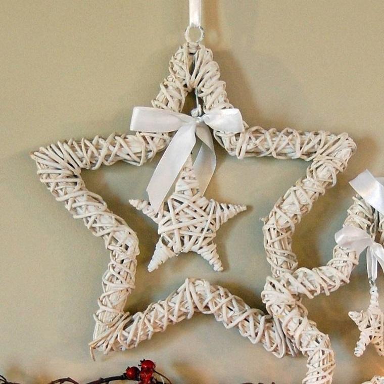 colore pastel navidad estrellas madera lazos pared ideas