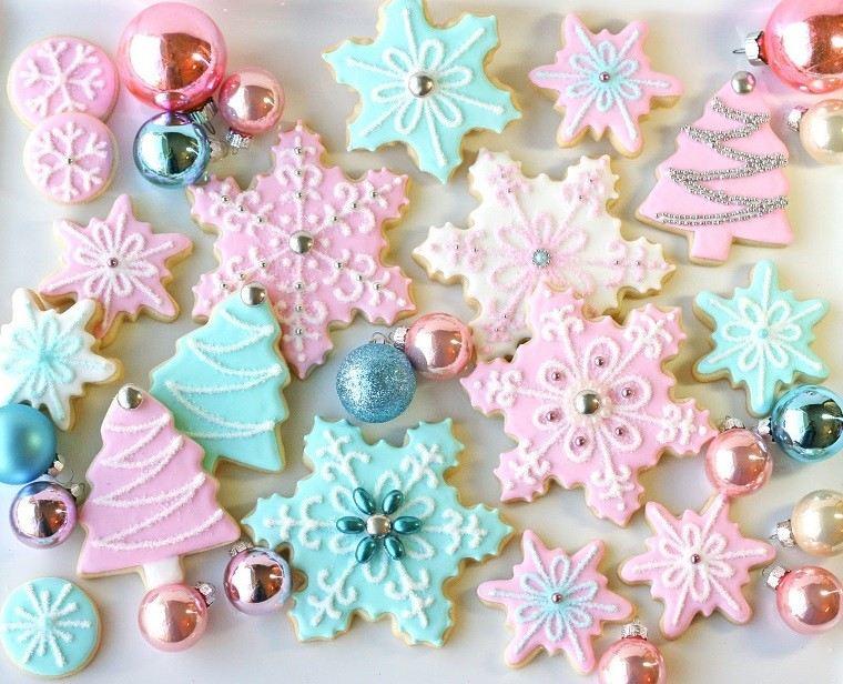 color pastel navidad galletas copos nieve arboles ideas