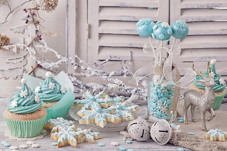 colores pastel navidad mesa decorada azul claro reno ideas
