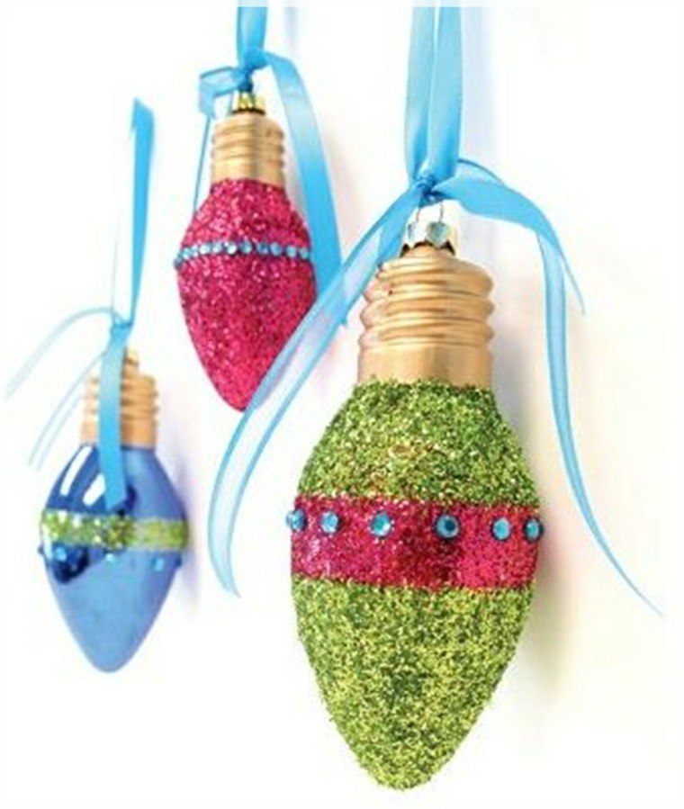 coloridas bombillas verde cintas azules