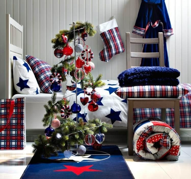 dormitorios navidad arboles bolas azul