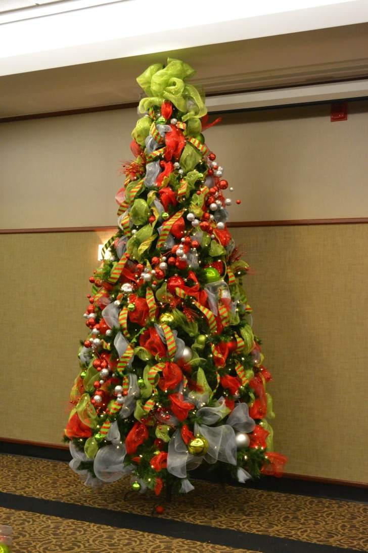 Christmas Trees Decorated With Ribbon