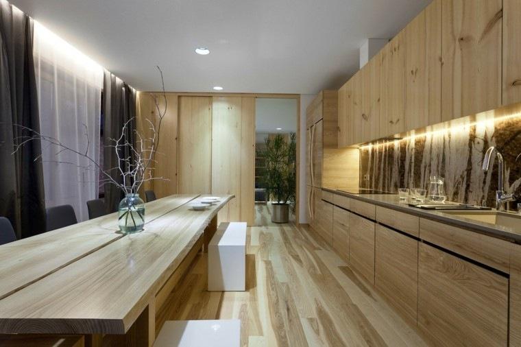 combinacion madera elementos casa led