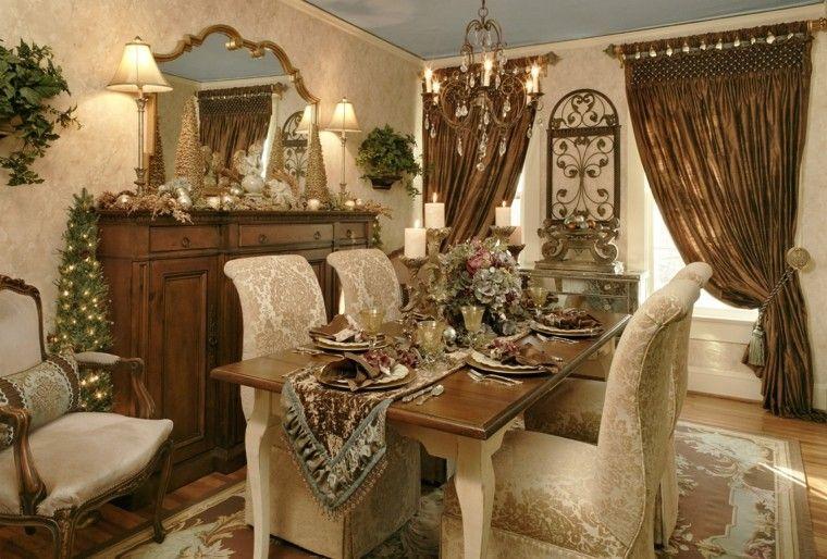 comedores navidad ideas estilo dorado cortinas