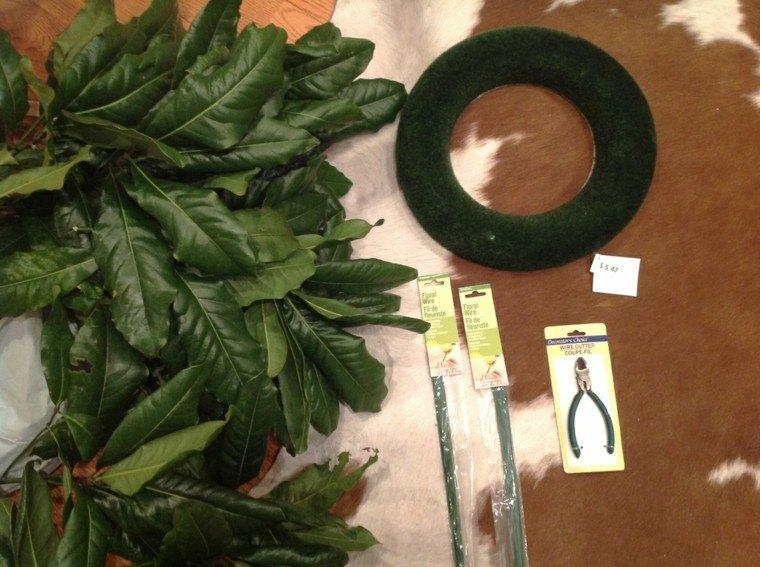cómo hacer corona hojas magnolio